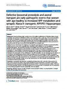 Defective lysosomal proteolysis and axonal transport ... - BioMedSearch