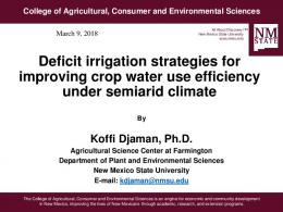Deficit irrigation strategies for improving crop water