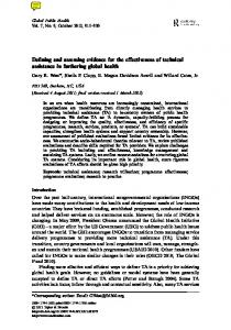 Defining and assessing evidence for the effectiveness of technical ...