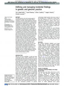 Defining and managing incidental findings in genetic and genomic ...