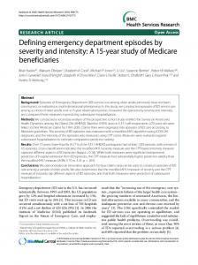 Defining emergency department episodes by severity ... - BioMedSearch