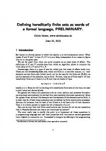 Defining hereditarily finite sets as words of a formal ...