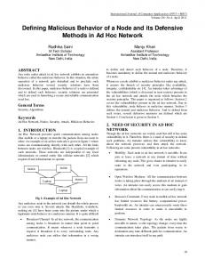 Defining Malicious Behavior of a Node and its Defensive ... - CiteSeerX