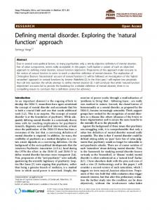 Defining mental disorder. Exploring the 'natural function' approach