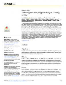 Defining pediatric polypharmacy: A scoping review - PLOS