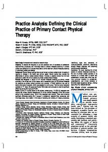 Defining the Clinical Practice of Primary Contact Physical Therapy