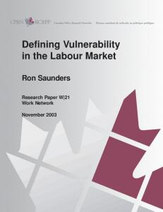 Defining Vulnerability in the Labour Market - Community Sector Council