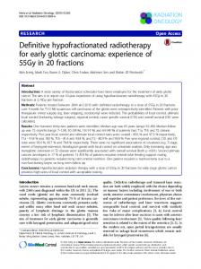 Definitive hypofractionated radiotherapy for early glottic carcinoma ...