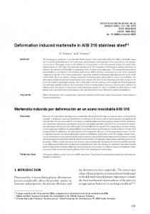 Deformation induced martensite in AISI 316 stainless steel