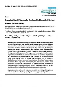 Degradability of Polymers for Implantable Biomedical ... - BioMedSearch