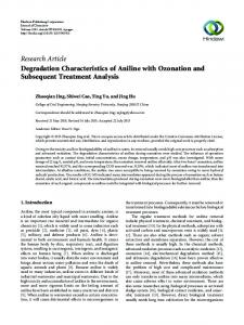 Degradation Characteristics of Aniline with Ozonation and ...