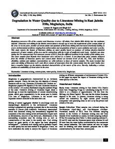 Degradation in Water Quality due to Limestone ...