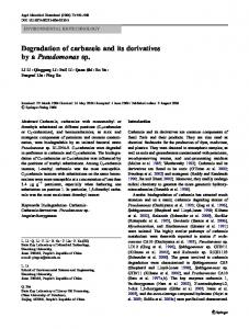 Degradation of carbazole and its derivatives by a ... - Springer Link