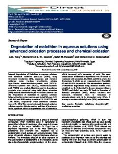 Degradation of malathion in aqueous solutions using