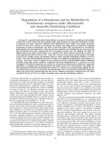 Degradation of n-Hexadecane and Its Metabolites by Pseudomonas ...