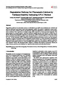 Degradation Pathway for Pitavastatin Calcium by Validated Stability ...