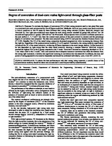 Degree of conversion of dual cure resins light cured ...