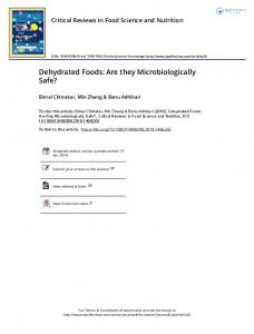 Dehydrated Foods: Are they Microbiologically Safe