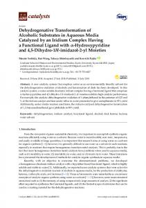 Dehydrogenative Transformation of Alcoholic Substrates in ... - MDPI