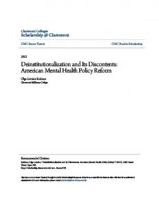 Deinstitutionalization and Its Discontents: American ...
