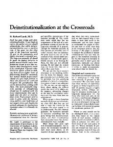 Deinstitutionalization at the Crossroads - Psychiatric Services