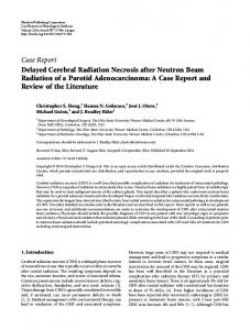 Delayed Cerebral Radiation Necrosis after Neutron Beam Radiation of ...