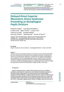 Delayed°Onset Superior Mesenteric Artery Syndrome ...