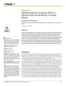 Delaying rewards has greater effect on altruism when the beneficiary ...
