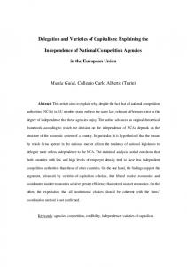 Delegation and Varieties of Capitalism: Explaining the Independence ...