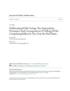 Deliberating While Voting: The Antecedents ... - Public Deliberation