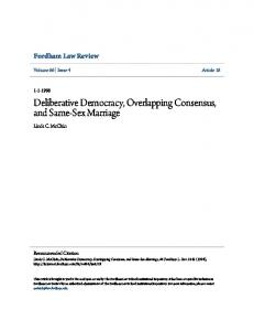 Deliberative Democracy, Overlapping Consensus, and Same-Sex ...