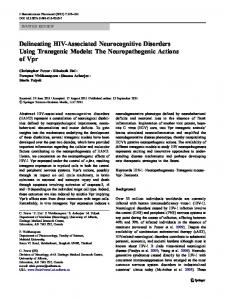 Delineating HIV-Associated Neurocognitive Disorders ... - Springer Link