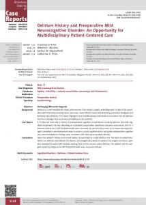 Delirium History and Preoperative Mild Neurocognitive Disorder: An