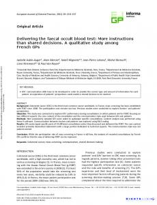 Delivering the faecal occult blood test: More ... - DMG Paris Diderot
