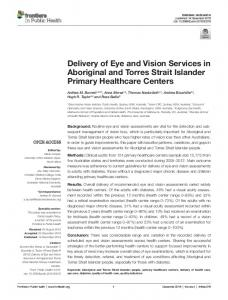 Delivery of Eye and Vision Services in Aboriginal ... - Semantic Scholar