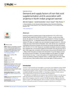Demand and supply factors of iron-folic acid supplementation ... - PLOS