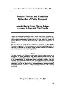 Demand Forecast and Elasticities Estimation of ... - IngentaConnect