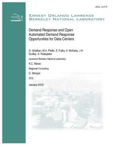 Demand Response and Open Automated Demand Response ...