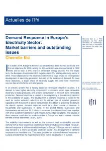 Demand Response in Europe's Electricity Sector: Market barriers and ...