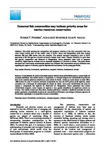 Demersal fish communities may indicate priority areas for - PanamJAS
