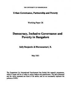 Democracy, Poverty and Governance in Bangalore - casumm