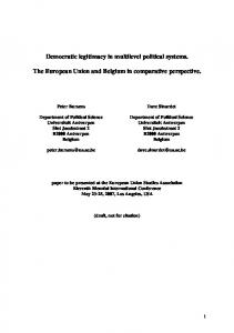 Democratic Legitimacy in Multilevel Political Systems. The EU and ...