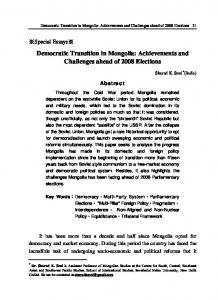Democratic Transition in Mongolia: Achievements and Challenges ...