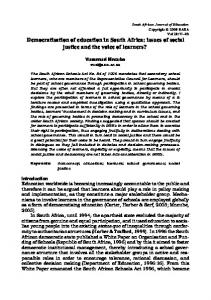 Democratisation of education in South Africa: issues of social justice