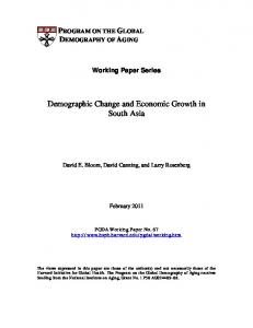 Demographic Change and Economic Growth in South Asia - CiteSeerX