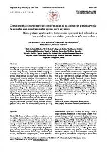 Demographic characteristics and functional outcomes in ... - doiSerbia