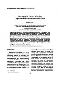 Demographic Factors Affecting Organizational Commitment of Lecturers