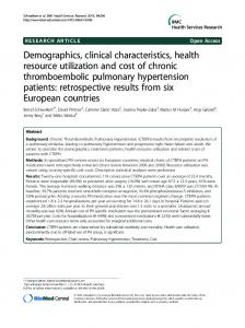 Demographics, clinical characteristics, health ... - BioMedSearch
