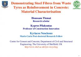 Demonstrating steel fibres from waste tyres as reinforcement i