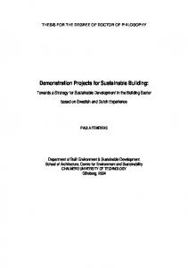 Demonstration Projects for Sustainable Building